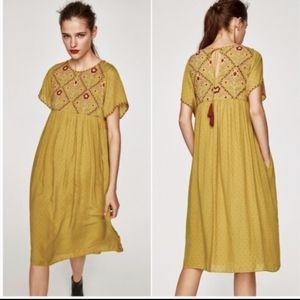 Zara Boho Embroidered Tunic Dress